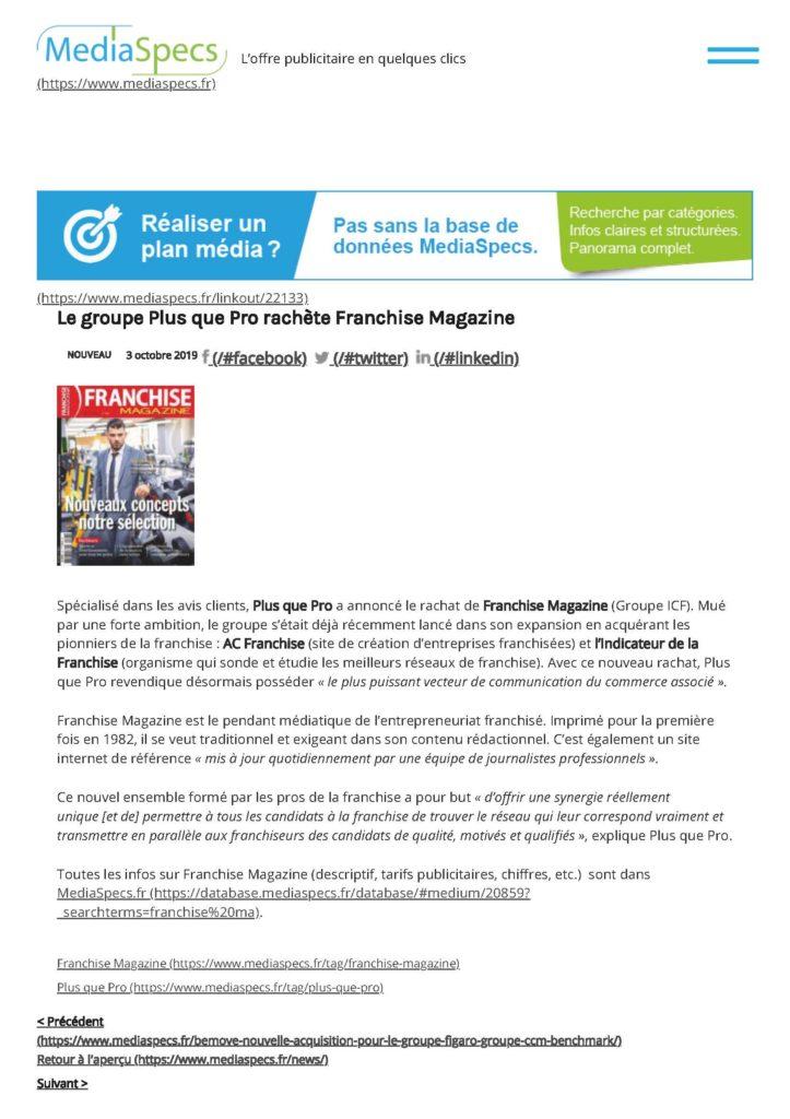 Article MediaSpecs que le rachat de Franchise Magazine par Plus que PRO