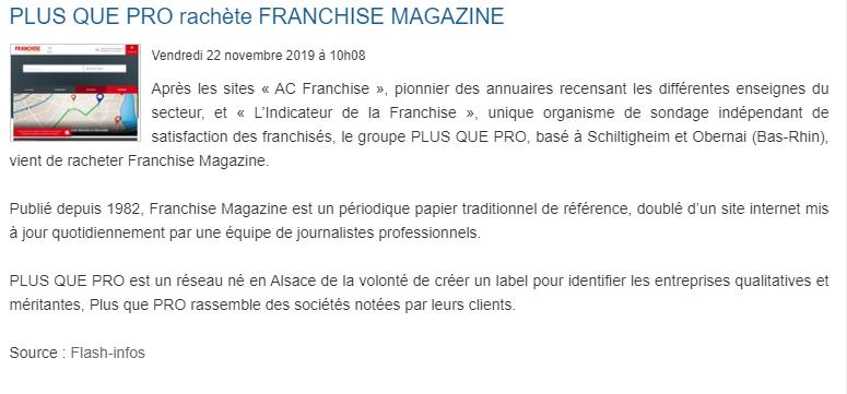 Article Fusacq sur le rachat de Franchise Magazine par Plus que PRO