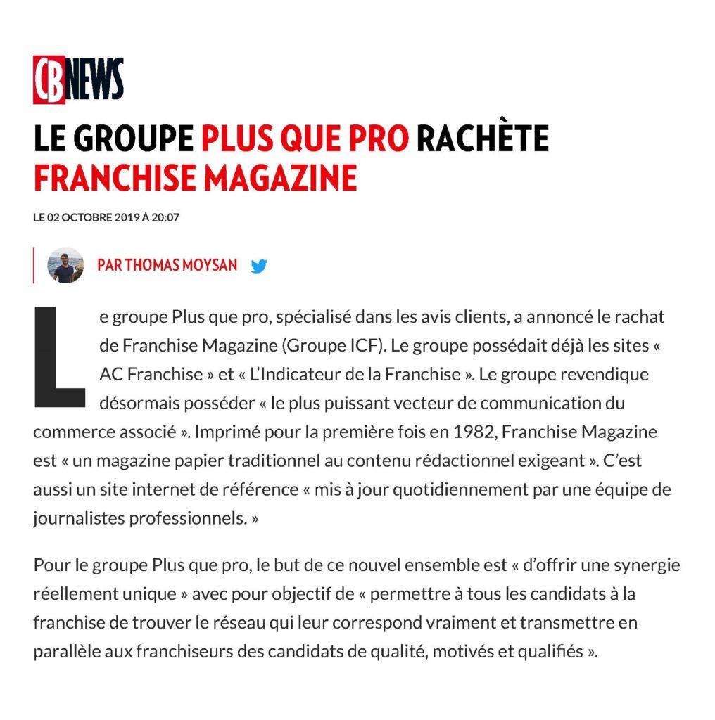 Article CB News concernant le rachat de Franchise Magazine par Plus que PRO