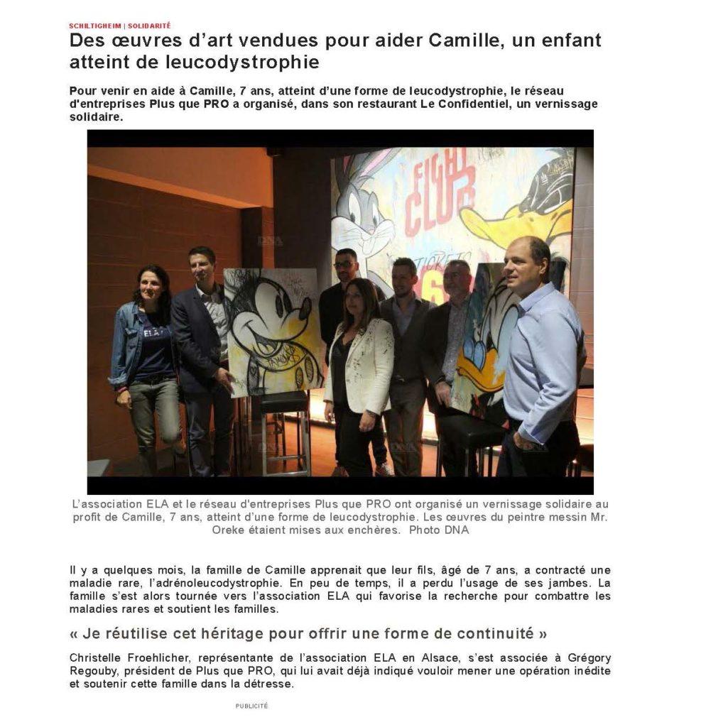 Article DNA sur le vernissage solidaire organisé par Plus que PRO au profit du petit Camille.